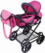 Amia Puppenwagen pink/grau melliert