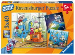 Ravensburger 80458 Woozle Goozle: Im Weltall, Labor und Unterwasser, 3x49 Teile