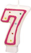 Amscan Zahlenkerze ''7'' (Motiv), Wachs, ca. 14x8x2 cm